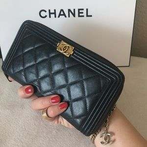 CHANEL Boy Quilted Leather CC Long Zippy Wallet